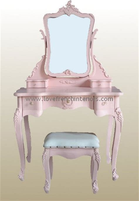 Youth Vanity Table Pink Dressing Table Mirror And Stool Traditional Bedroom Vanities By