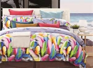 feather print bedding colorful feather print cotton 4 bedding sets