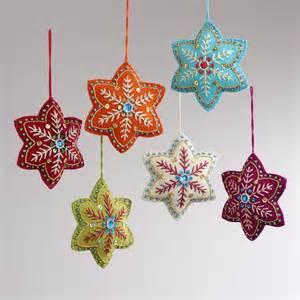 felt ornaments embroidered felt 6 pointed ornaments set of 6 world market