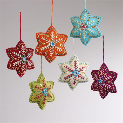 embroidered felt 6 pointed star ornaments set of 6