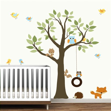 Forest Nursery Wall Decals Wall Decals Vinyl Wall Decal Tree With Swing Forest Animals Nursery Wall Trees And