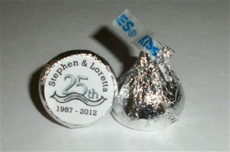 Silver Wedding Anniversary Giveaways - 216 silver anniversary 25th wedding anniversary favors hershey kiss labels ebay