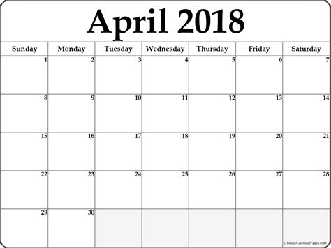 april 2018 free printable blank calendar collection
