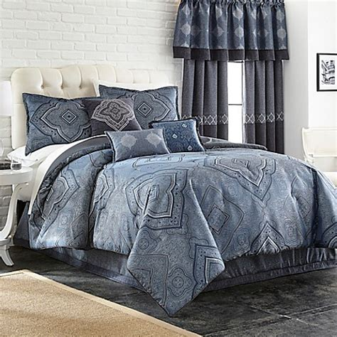 indigo comforter set buy evender 7 piece full comforter set in indigo from bed
