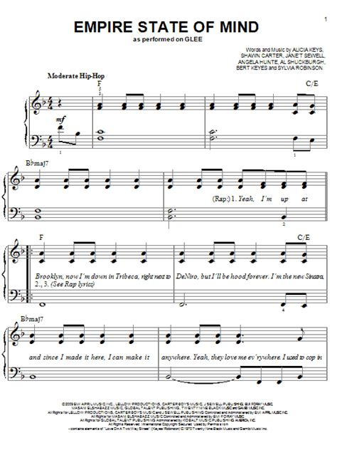 Tutorial Piano Empire State Of Mind | empire state of mind sheet music by glee cast easy piano