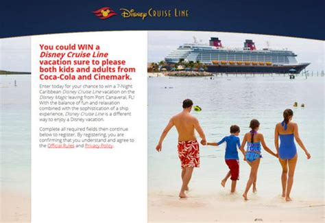 Disney Cruise Line Sweepstakes - magicalsailaway com sail away with coca cola and cinemark sweepstakes pit
