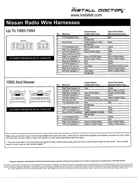 2000 Nissan Maxima Radio Wiring Diagram - Wiring Diagram