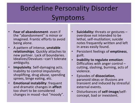 borderline personality disorder symptoms bpd and other