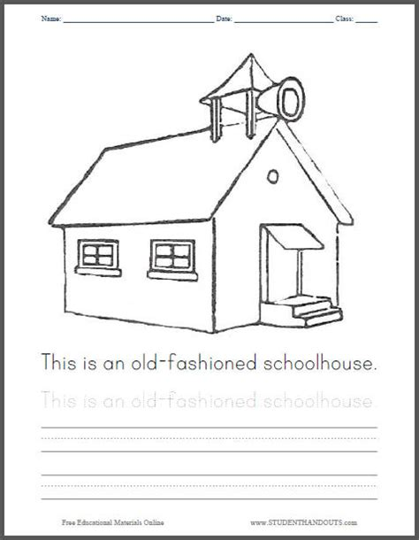free coloring pages of one room school house