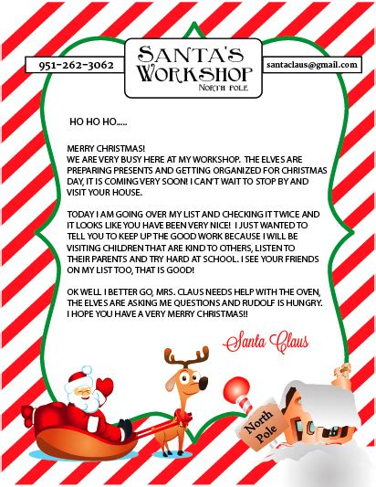printable free letters from santa free printable letter to and from santa sohosonnet