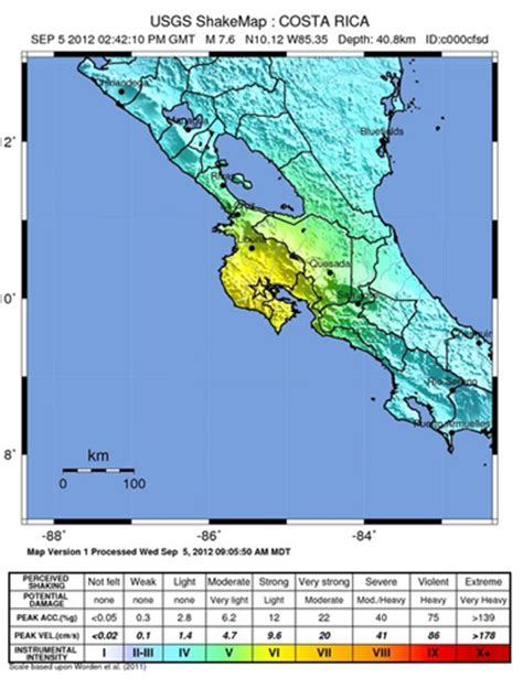 san jose earthquake map usgs costa rica earthquake reuters