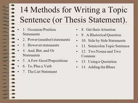 How To Make A Topic Sentence For A Research Paper - sle topic sentences for the following thesis statement