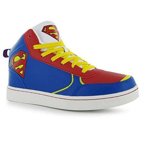dc comics mens superman hi top trainers superman branding