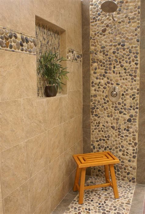 river rock bathroom ideas river rock shower on splatter paint bedroom