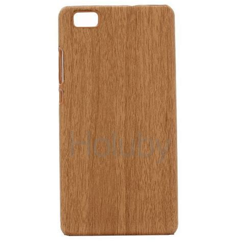 Hardcase Motif For Smartphone wood grain leather coated pc for huawei ascend