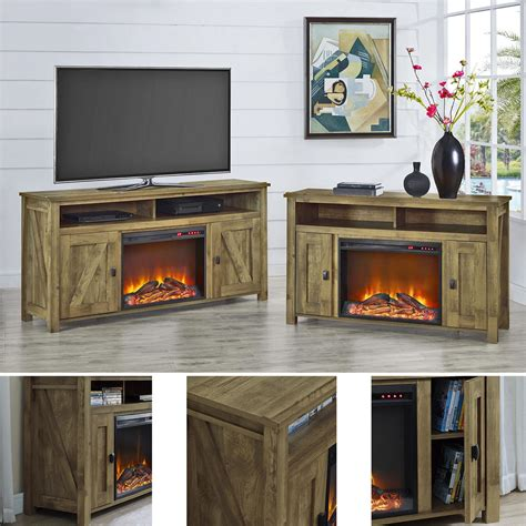 electric fireplace tv stand entertainment center heater