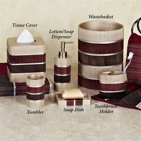 glamorous red bathroom accessories sets with red brown