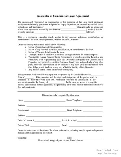 Credit Application Form Directors Guarantee personal guarantee form for a lease agreement legalforms org