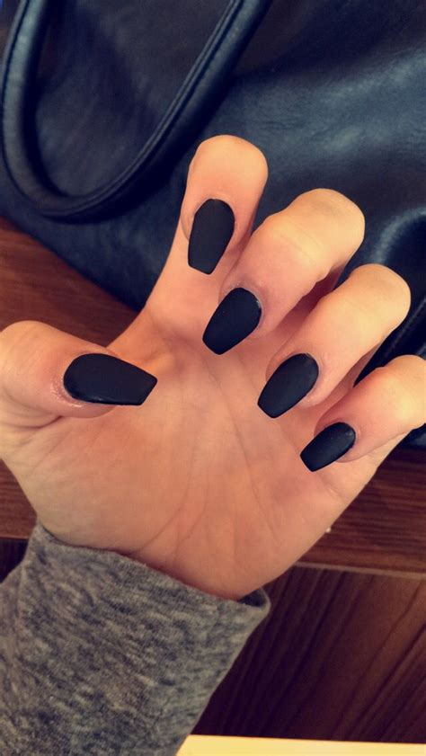 Black Nail by Matte Black Coffin Shape Acrylic Nails Fresh Claws