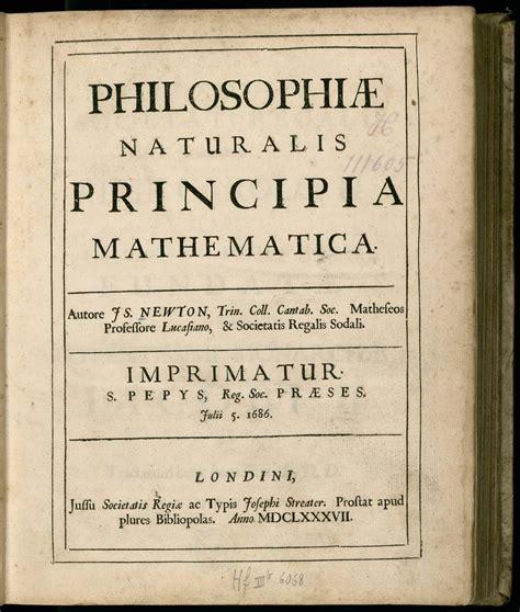 Ficheiro:Newton - Principia (1687), title, p. 5, color.jpg ... K 1687