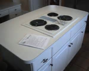 Modern small kitchen island with modern gas stove on white cabinet and