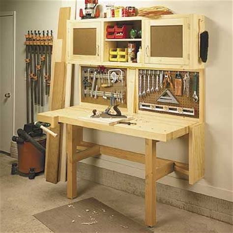 fold down work bench woodworking project plan fold down workbench storage