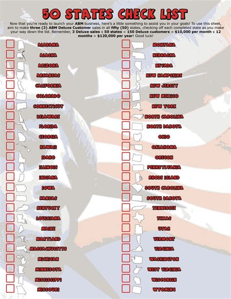 Printable List Of States