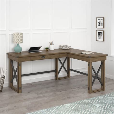 rustic l shaped desk ameriwood furniture wildwood l shaped desk with lift top