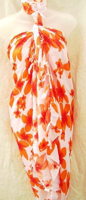 Pashmina Branded Motif Batik orange flower print design on handcrafted batik summer shawl from import wholesale shopping boutique
