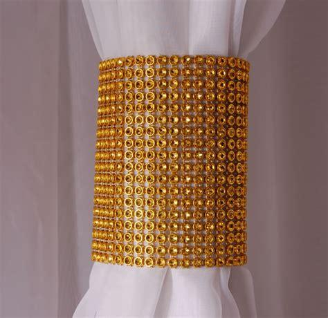 rhinestone curtains gold rhinestone mesh velcro band curtain tie