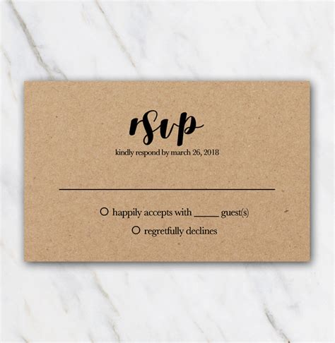 wedding rsvp menu choice template wedding rsvp template black font on brown kraftpaper