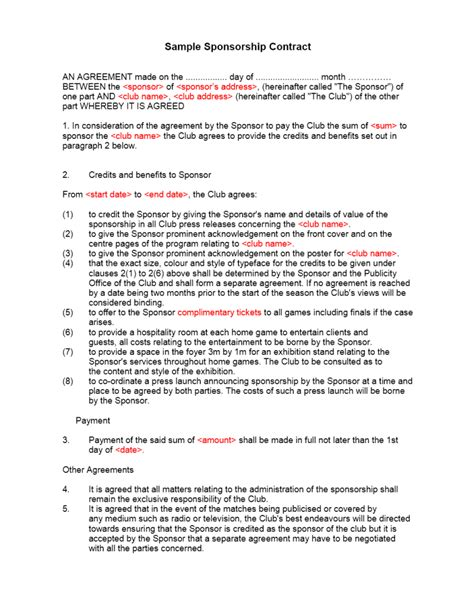 sponsor agreement template sponsorship contract template