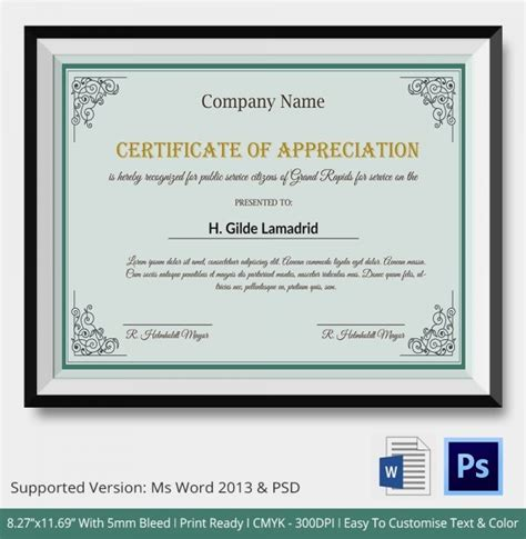 company certificate template 24 certificate of appreciation templates free sle