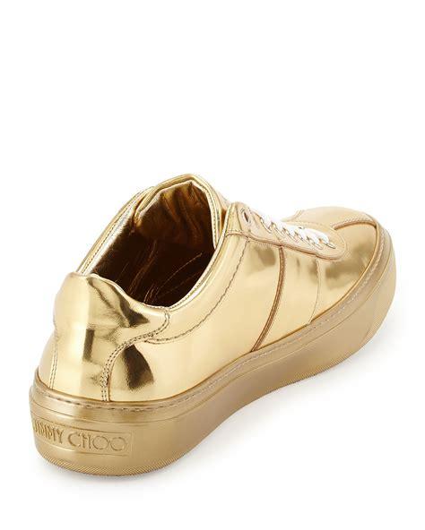 s jimmy choo sneakers jimmy choo portman mirrored low top sneakers in metallic