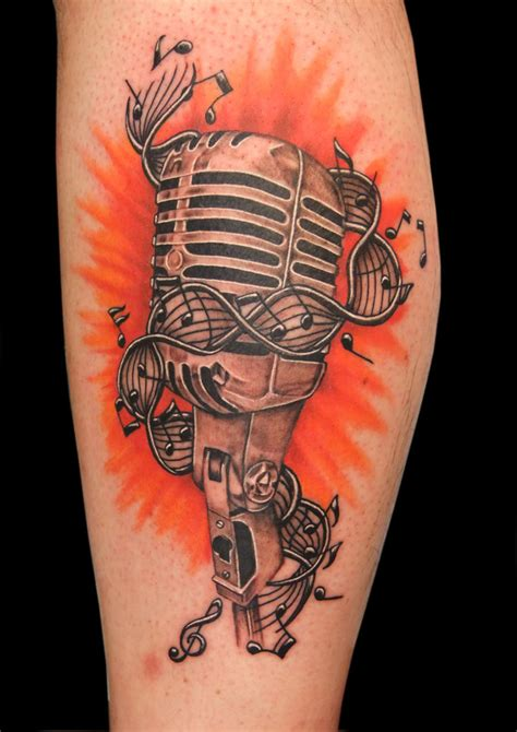 old school microphone tattoo designs school mic