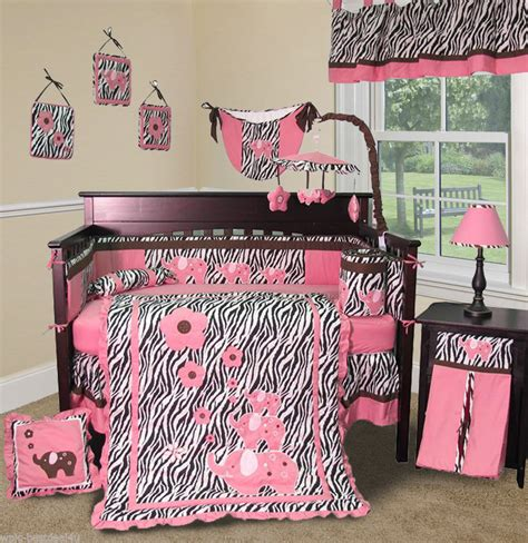 pink leopard crib bedding set pull out storage drawers 1