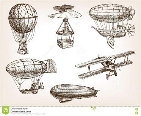 vintage sketch book air transport vintage sketch vector stock