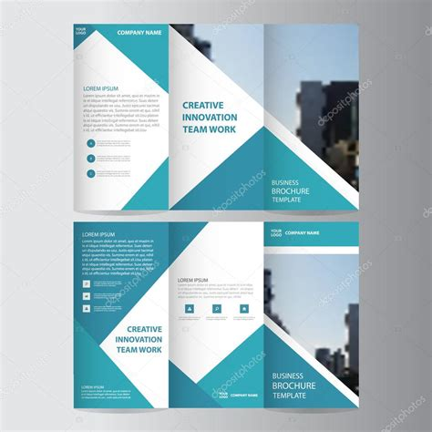 vector layout templates blue triangle business trifold leaflet brochure flyer