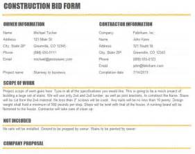 Drywall Bid Template by Construction Bid Template Excel Excel About