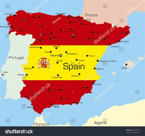 colors of spain abstract vector color map spain country stock vector