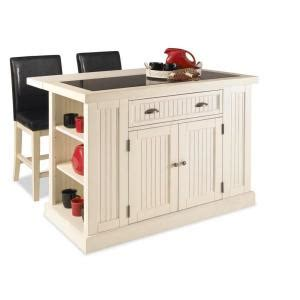 home depot kitchen island home styles nantucket kitchen island in distressed white with black granite inlay and two stools