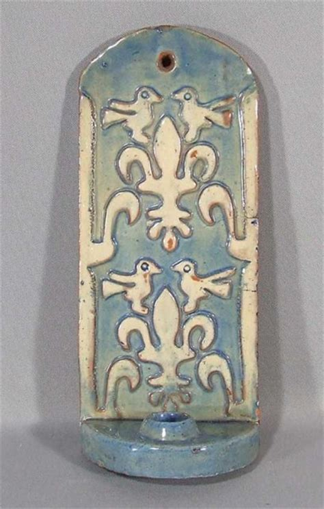 moravian pottery and tile candle sconce for sale