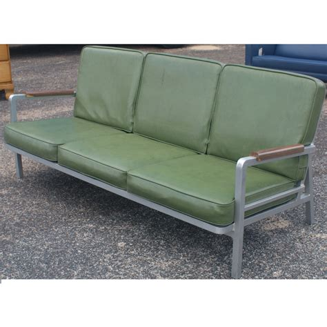green vintage sofa vintage aluminum green three seater sofa ebay