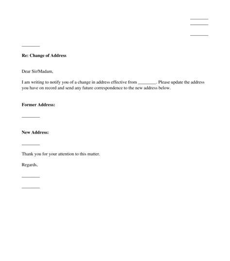template for change of address change of address letter template word pdf