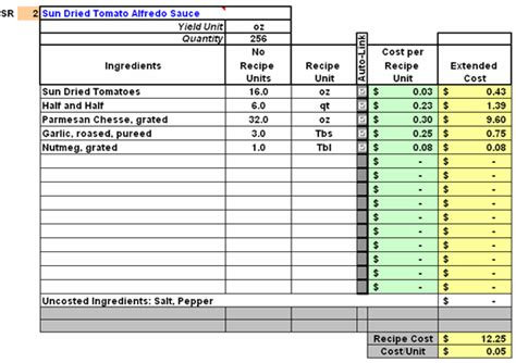 recipe cost card template excel 10 food cost spreadsheet excel spreadsheets
