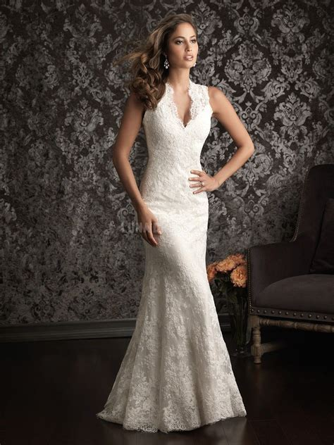 Bust Lace v neck wedding dresses for large bust lace v neck sheath column waist sleeveless
