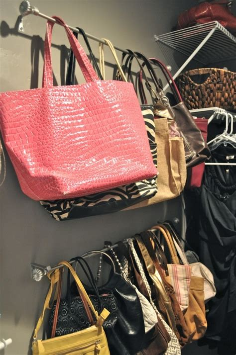How To Store Purses In A Small Closet by Curtain Rods For Purses Yard Sale Display