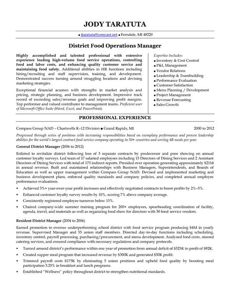 district manager resume district food operations manager in detroit mi resume jody taratuta