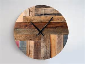 rustic wall clock large wall clock weathered wood clock home decor reclaimed wood decor