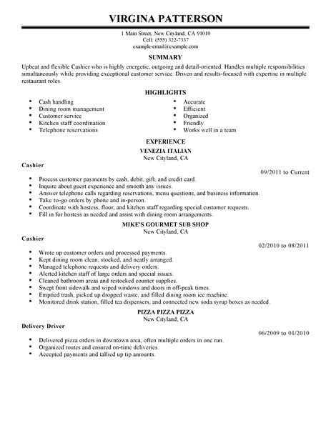 cashier resume exle restaurant bar sle resumes